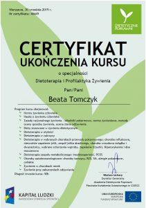 certyfikat dietoterapia i profilaktyka żywienia