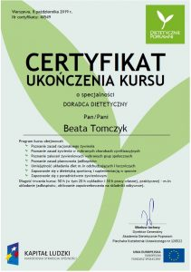 certyfikat doradca dietetyczny